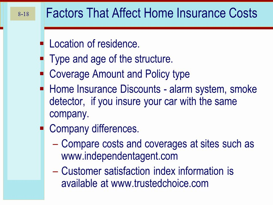 8-18 Factors That Affect Home Insurance Costs Location of residence.