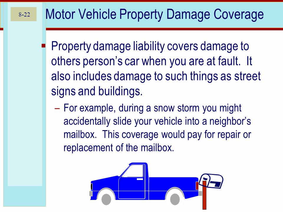 8-22 Motor Vehicle Property Damage Coverage Property damage liability covers damage to others persons car when you are at fault.