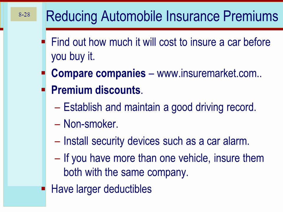 8-28 Reducing Automobile Insurance Premiums Find out how much it will cost to insure a car before you buy it.