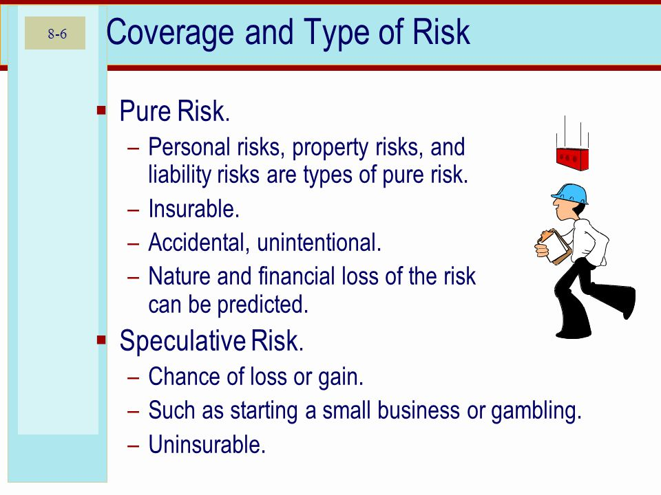 8-6 Coverage and Type of Risk Pure Risk.