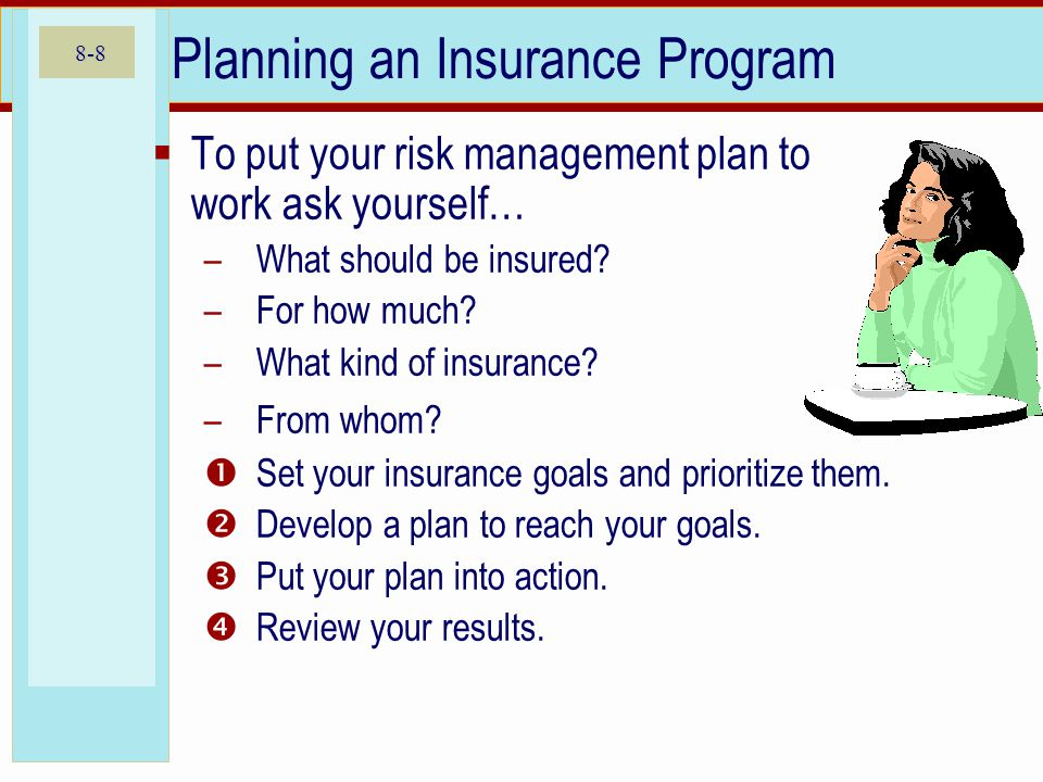 8-8 Planning an Insurance Program To put your risk management plan to work ask yourself… –What should be insured? –For how much? –What kind of insuran