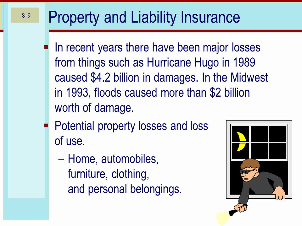 8-9 Property and Liability Insurance In recent years there have been major losses from things such as Hurricane Hugo in 1989 caused $4.2 billion in da