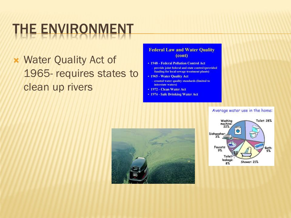 Water Quality Act of 1965- requires states to clean up rivers