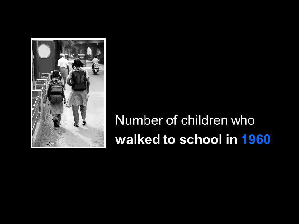 Number of children who walked to school in 1960