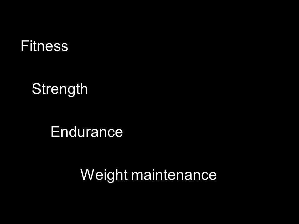 Fitness Strength Endurance Weight maintenance