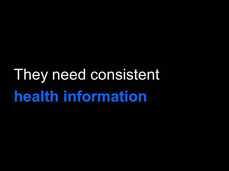 They need consistent health information