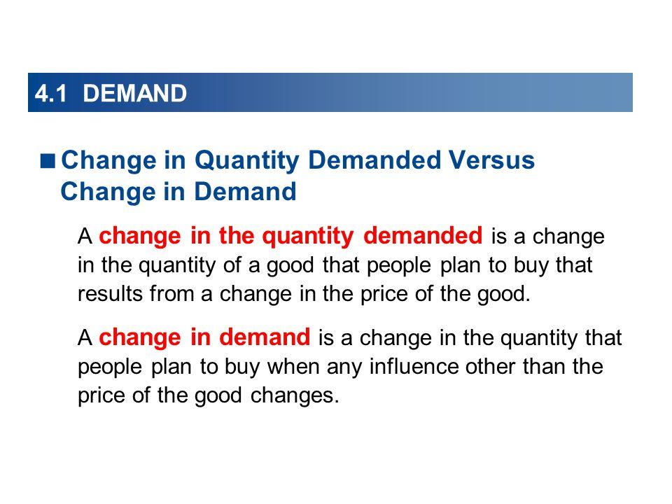4.1 DEMAND Change in Quantity Demanded Versus Change in Demand A change in the quantity demanded is a change in the quantity of a good that people pla
