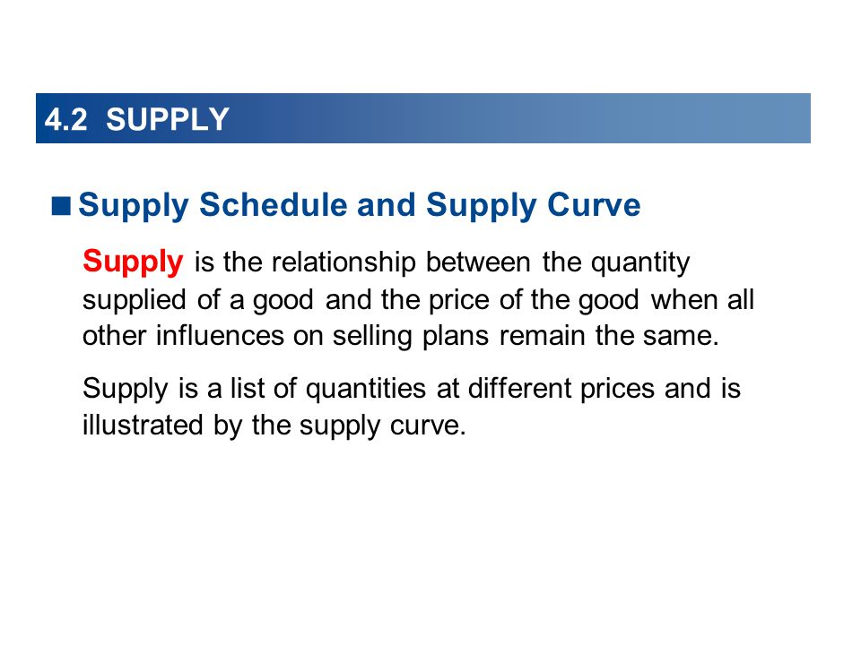 4.2 SUPPLY Supply Schedule and Supply Curve Supply is the relationship between the quantity supplied of a good and the price of the good when all other influences on selling plans remain the same.