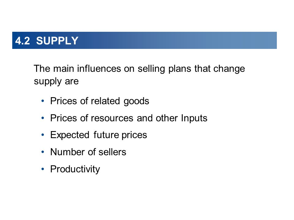 The main influences on selling plans that change supply are Prices of related goods Prices of resources and other Inputs Expected future prices Number