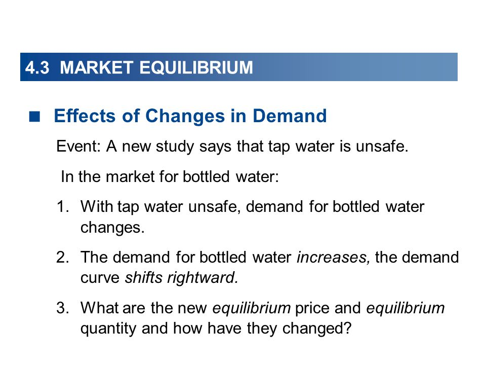 4.3 MARKET EQUILIBRIUM Effects of Changes in Demand Event: A new study says that tap water is unsafe. In the market for bottled water: 1.With tap wate