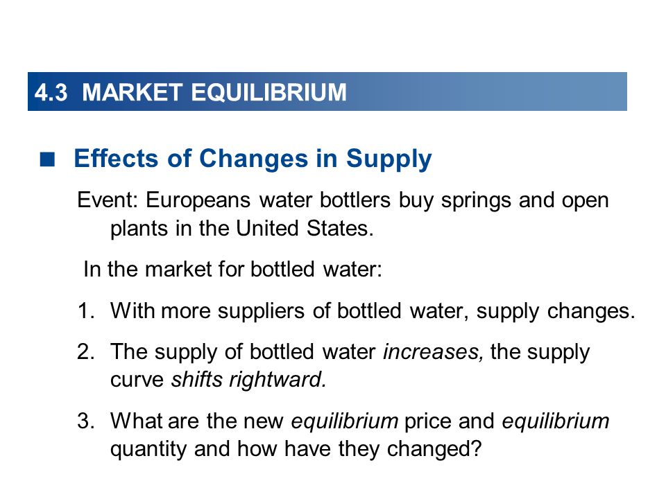 4.3 MARKET EQUILIBRIUM Effects of Changes in Supply Event: Europeans water bottlers buy springs and open plants in the United States.