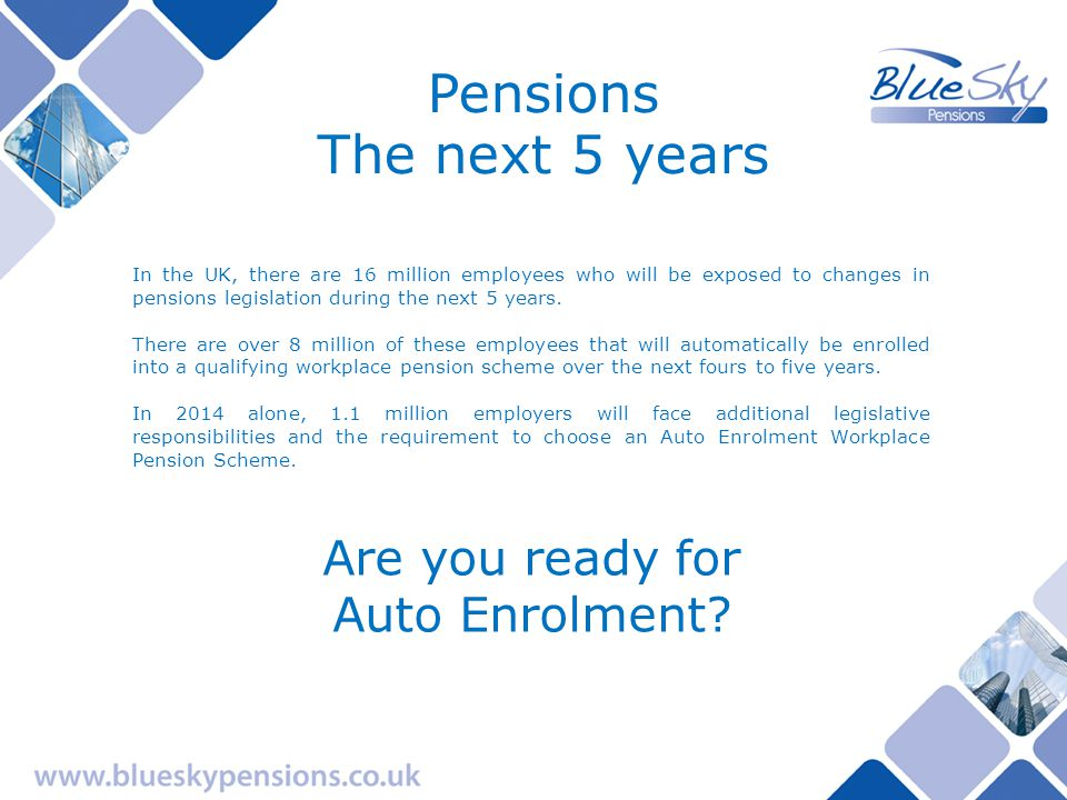 Pensions The next 5 years Are you aware of the legislative responsibilities.