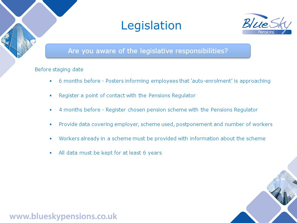 Are you aware of the legislative responsibilities.
