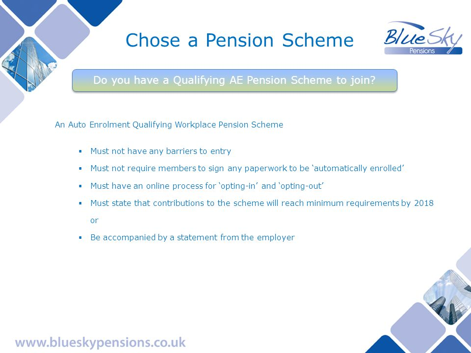 BlueSky Pension Scheme BlueSky Pensions manages the BlueSky Pension Scheme – a Multi Employer MasterTrust Meets all legislative requirements with regard to Auto Enrolment Non profit – run for members Is trust based with an elected Trustee Board overseeing the Scheme Has advanced investment options incorporating Target Date Funds – a fund for life Has an online Real Time Information Member Access Portal (BlueSky MAP) Has an Employer Sign Up Now tool (BlueSky SUN) Has low administration charges – 0.3% for 2013 Has been operational since 1988 Has over 240 employers already participating Is administered in the UK by pensions professionals Has a fund value in excess of £250m Web based access for members, employers and advisors Your chosen arrangement
