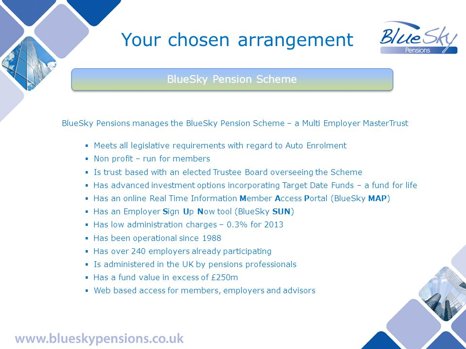 BlueSky The complete pension solution For members For employers