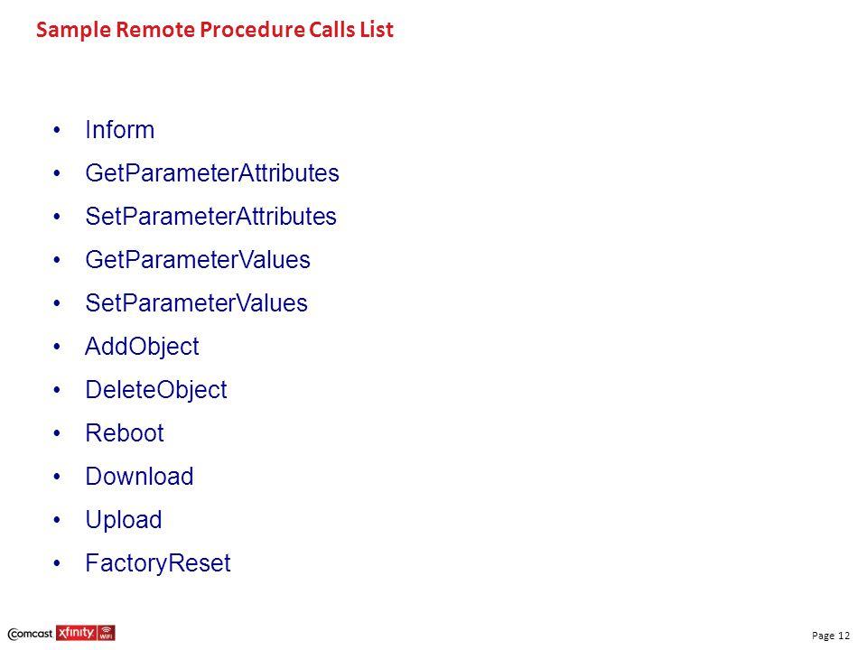 Page 12 Sample Remote Procedure Calls List Inform GetParameterAttributes SetParameterAttributes GetParameterValues SetParameterValues AddObject Delete