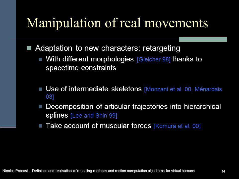 Nicolas Pronost – Definition and realisation of modeling methods and motion computation algorithms for virtual humans 14 Manipulation of real movements Adaptation to new characters: retargeting With different morphologies [Gleicher 98] thanks to spacetime constraints Use of intermediate skeletons [Monzani et al.