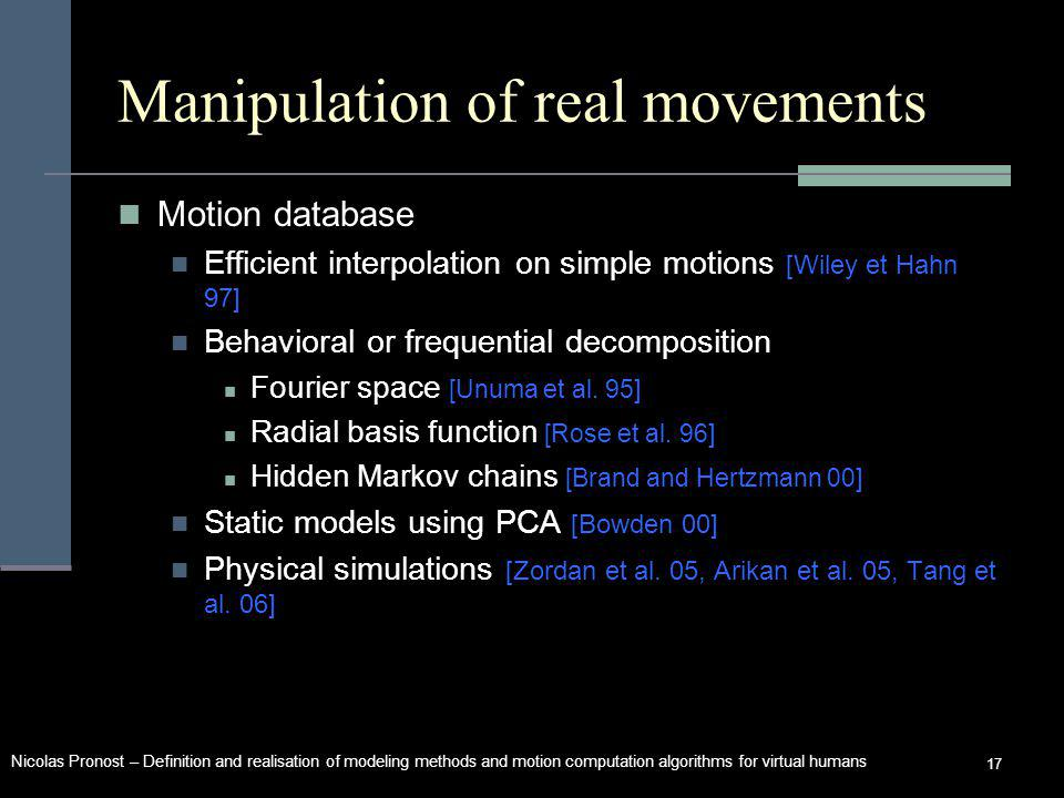 Nicolas Pronost – Definition and realisation of modeling methods and motion computation algorithms for virtual humans 17 Manipulation of real movements Motion database Efficient interpolation on simple motions [Wiley et Hahn 97] Behavioral or frequential decomposition Fourier space [Unuma et al.