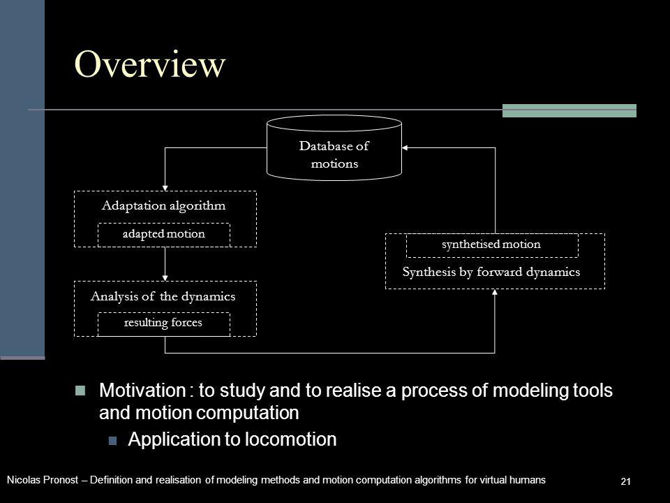 Nicolas Pronost – Definition and realisation of modeling methods and motion computation algorithms for virtual humans 21 Overview Motivation : to study and to realise a process of modeling tools and motion computation Application to locomotion Database of motions Adaptation algorithm Analysis of the dynamics Synthesis by forward dynamics adapted motion resulting forces synthetised motion