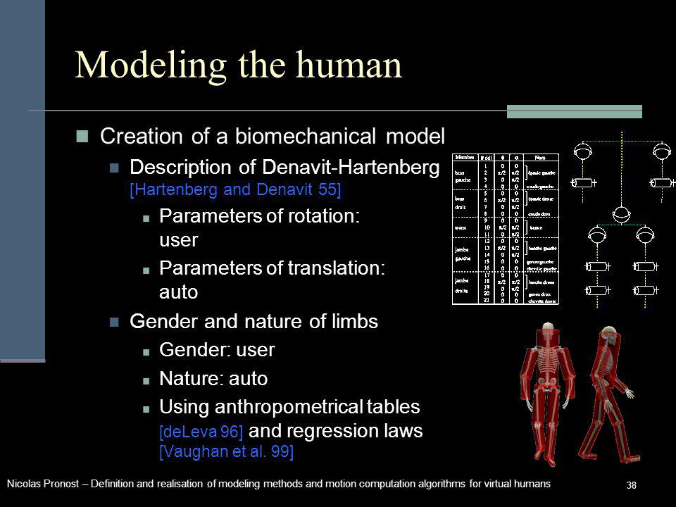 Nicolas Pronost – Definition and realisation of modeling methods and motion computation algorithms for virtual humans 38 Modeling the human Creation of a biomechanical model Description of Denavit-Hartenberg [Hartenberg and Denavit 55] Parameters of rotation: user Parameters of translation: auto Gender and nature of limbs Gender: user Nature: auto Using anthropometrical tables [deLeva 96] and regression laws [Vaughan et al.
