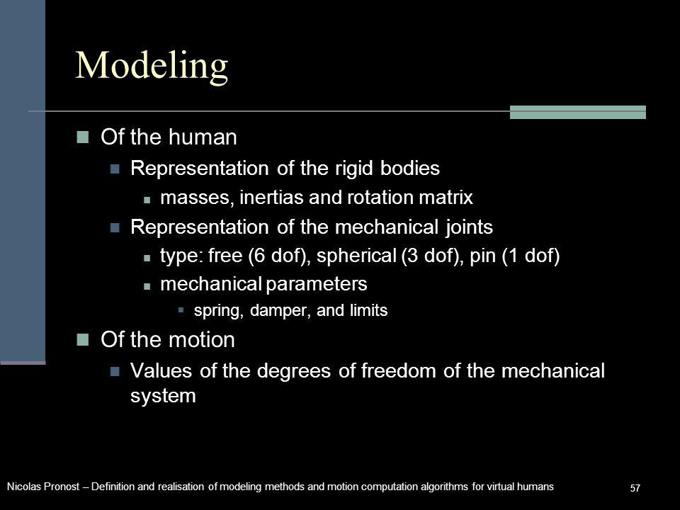 Nicolas Pronost – Definition and realisation of modeling methods and motion computation algorithms for virtual humans 57 Modeling Of the human Representation of the rigid bodies masses, inertias and rotation matrix Representation of the mechanical joints type: free (6 dof), spherical (3 dof), pin (1 dof) mechanical parameters spring, damper, and limits Of the motion Values of the degrees of freedom of the mechanical system
