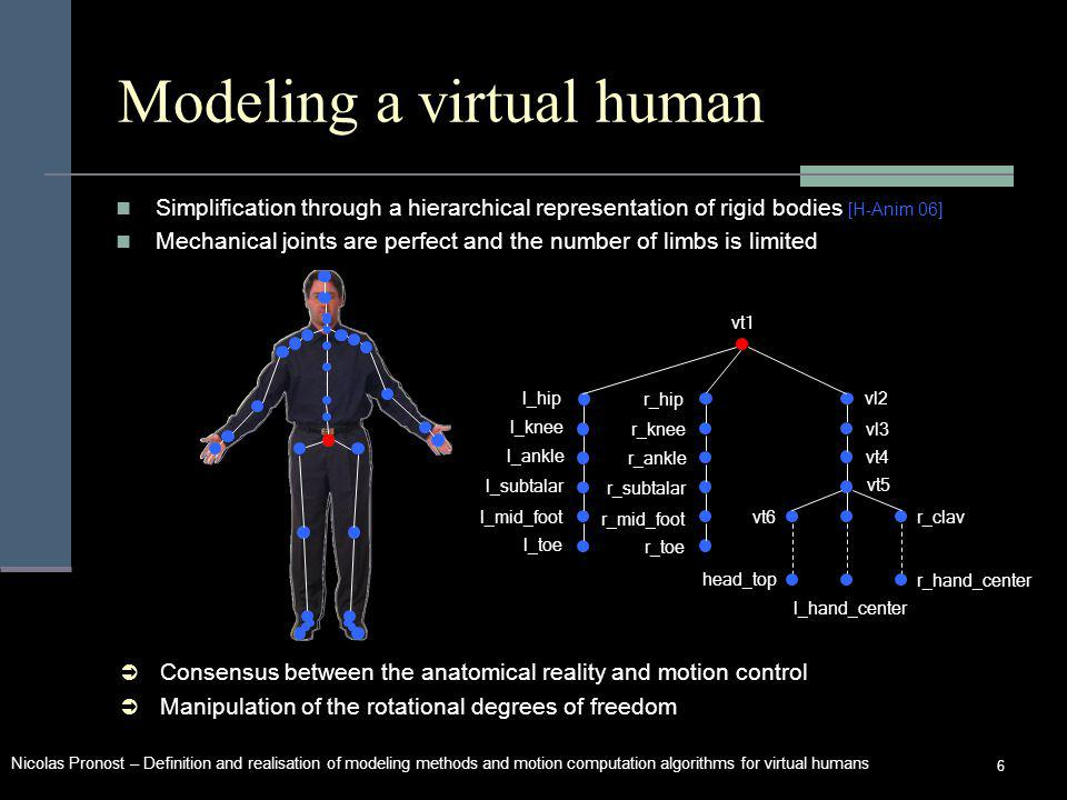 Nicolas Pronost – Definition and realisation of modeling methods and motion computation algorithms for virtual humans 6 Modeling a virtual human Consensus between the anatomical reality and motion control Manipulation of the rotational degrees of freedom Simplification through a hierarchical representation of rigid bodies [H-Anim 06] Mechanical joints are perfect and the number of limbs is limited l_mid_foot r_hand_center vt1 l_hip l_knee l_ankle l_subtalar l_toe r_hip r_knee r_ankle r_subtalar r_mid_foot r_toe vl2 vl3 vt4 vt5 vt6 head_top r_clav l_hand_center