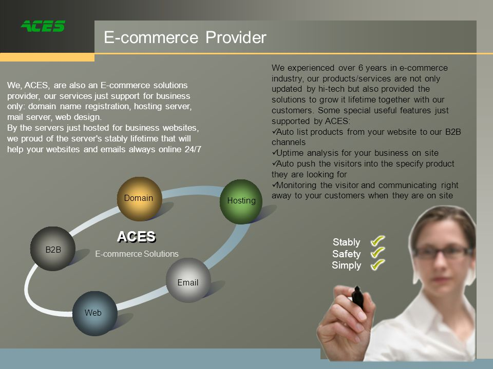 E-commerce Provider Domain ACES We, ACES, are also an E-commerce solutions provider, our services just support for business only: domain name registration, hosting server, mail server, web design.