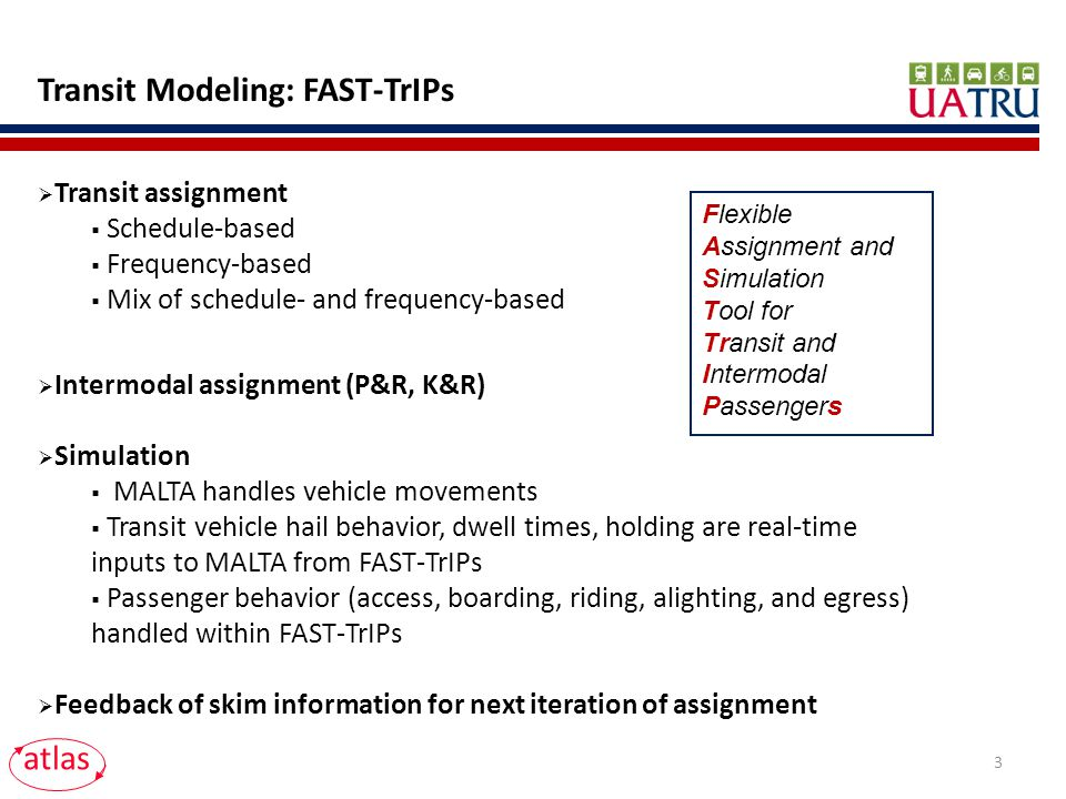 Transit Modeling: FAST-TrIPs Transit assignment Schedule-based Frequency-based Mix of schedule- and frequency-based Intermodal assignment (P&R, K&R) Simulation MALTA handles vehicle movements Transit vehicle hail behavior, dwell times, holding are real-time inputs to MALTA from FAST-TrIPs Passenger behavior (access, boarding, riding, alighting, and egress) handled within FAST-TrIPs Feedback of skim information for next iteration of assignment atlas Flexible Assignment and Simulation Tool for Transit and Intermodal Passengers 3