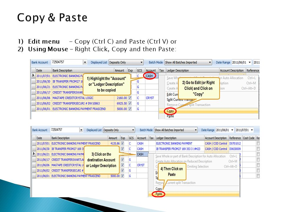 1)Edit menu - Copy (Ctrl C) and Paste (Ctrl V) or 2)Using Mouse - Right Click, Copy and then Paste: