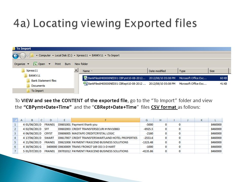 To VIEW and see the CONTENT of the exported file, go to the To Import folder and view the CBPymt+Date+Time and the CBRept+Date+Time files CSV format a