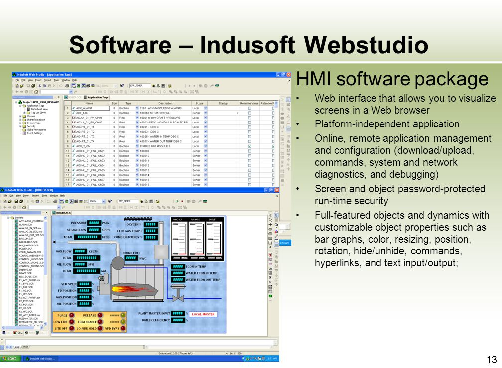 13 Software – Indusoft Webstudio HMI software package Web interface that allows you to visualize screens in a Web browser Platform-independent applica