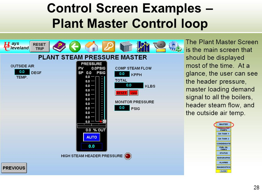 28 Control Screen Examples – Plant Master Control loop The Plant Master Screen is the main screen that should be displayed most of the time. At a glan