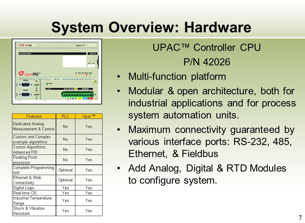 7 System Overview: Hardware UPAC Controller CPU P/N 42026 Multi-function platform Modular & open architecture, both for industrial applications and fo
