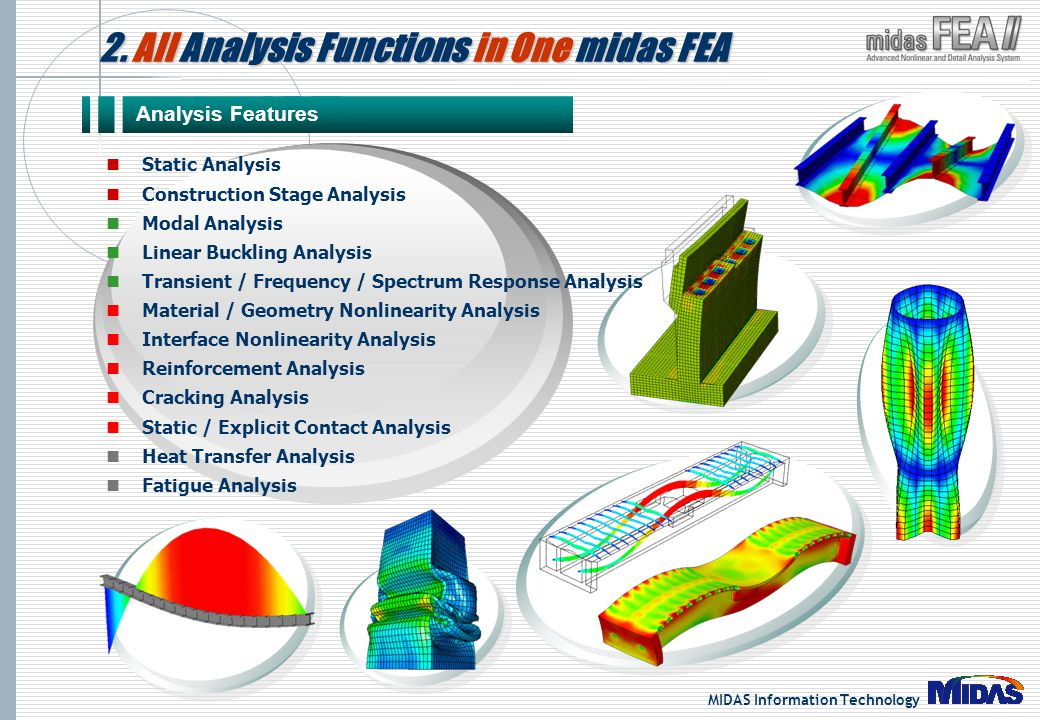 MIDAS Information Technology 2. All Analysis Functions in One midas FEA Analysis Features Static Analysis Construction Stage Analysis Modal Analysis L