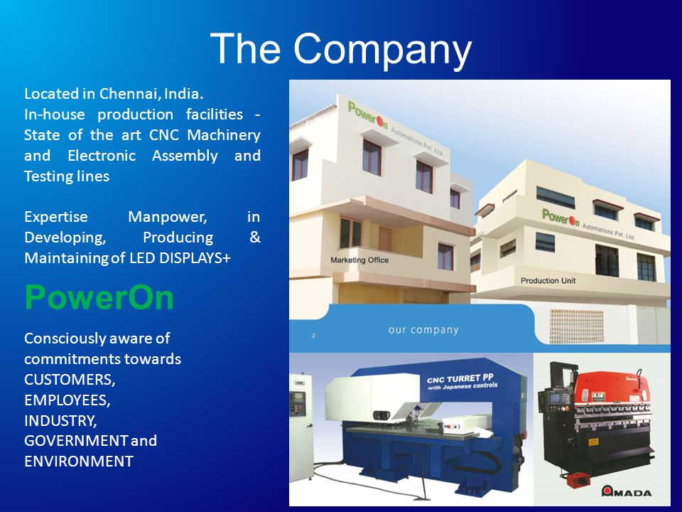 The Company Located in Chennai, India.