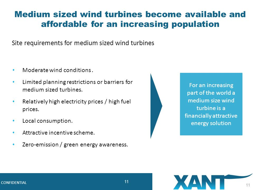 11 Robust, Cost-effective Midsize Wind Turbines CONFIDENTIAL 11 Medium sized wind turbines become available and affordable for an increasing populatio