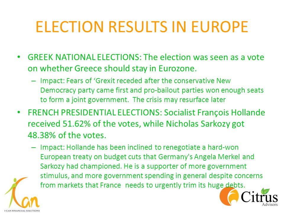 ELECTION RESULTS IN EUROPE GREEK NATIONAL ELECTIONS: The election was seen as a vote on whether Greece should stay in Eurozone. – Impact: Fears of Gre