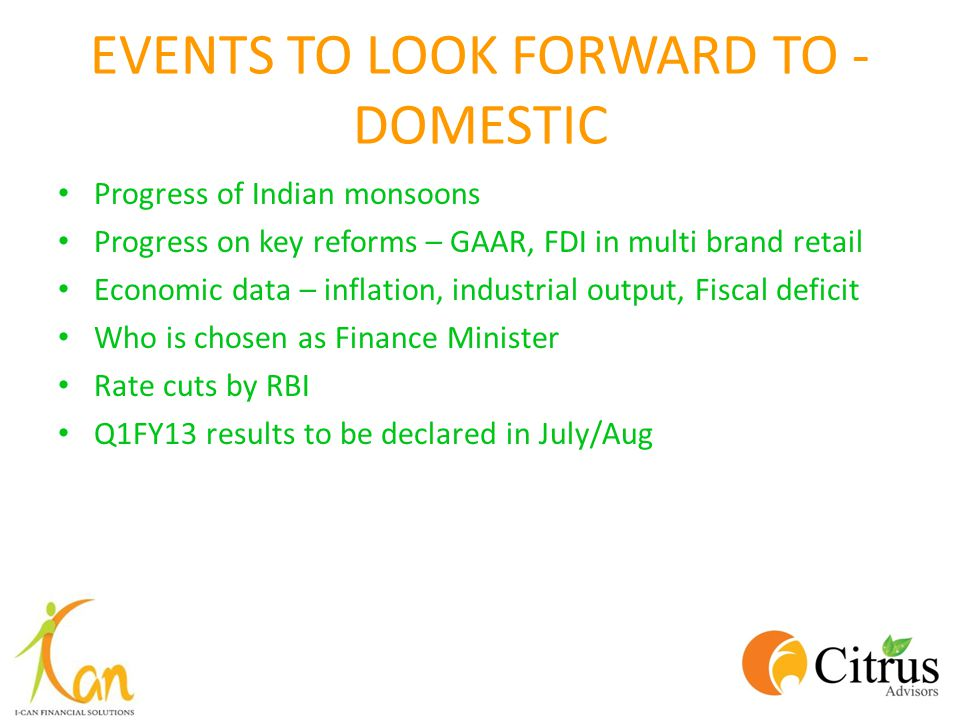 EVENTS TO LOOK FORWARD TO - DOMESTIC Progress of Indian monsoons Progress on key reforms – GAAR, FDI in multi brand retail Economic data – inflation,