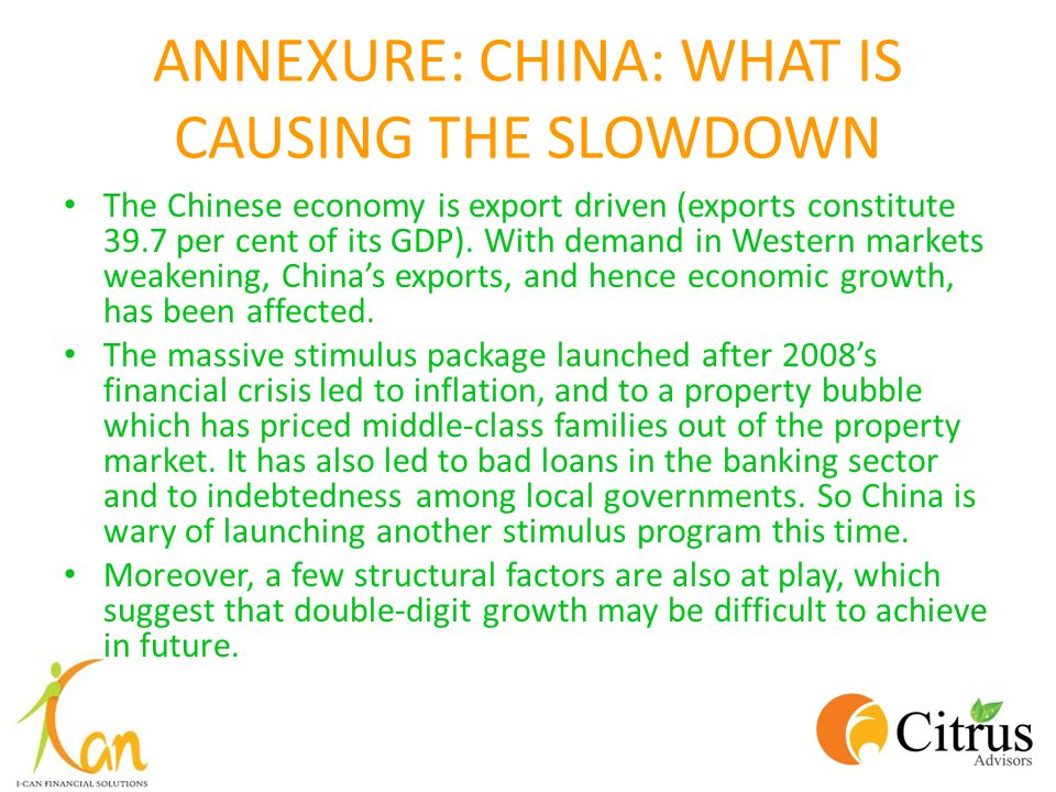ANNEXURE: CHINA: WHAT IS CAUSING THE SLOWDOWN The Chinese economy is export driven (exports constitute 39.7 per cent of its GDP). With demand in Weste