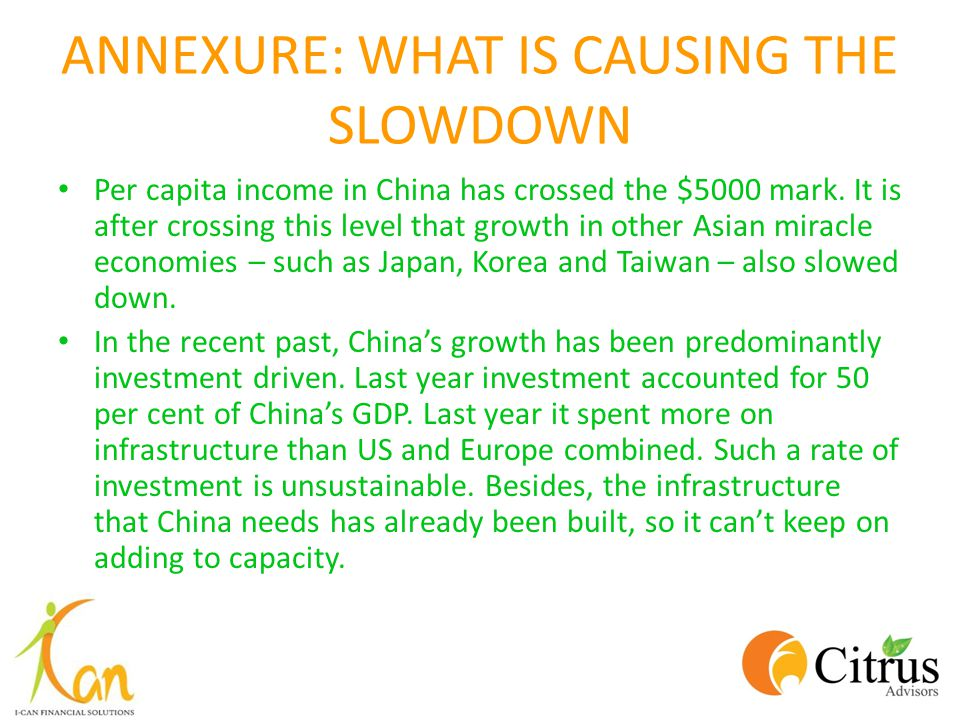 ANNEXURE: WHAT IS CAUSING THE SLOWDOWN Per capita income in China has crossed the $5000 mark. It is after crossing this level that growth in other Asi