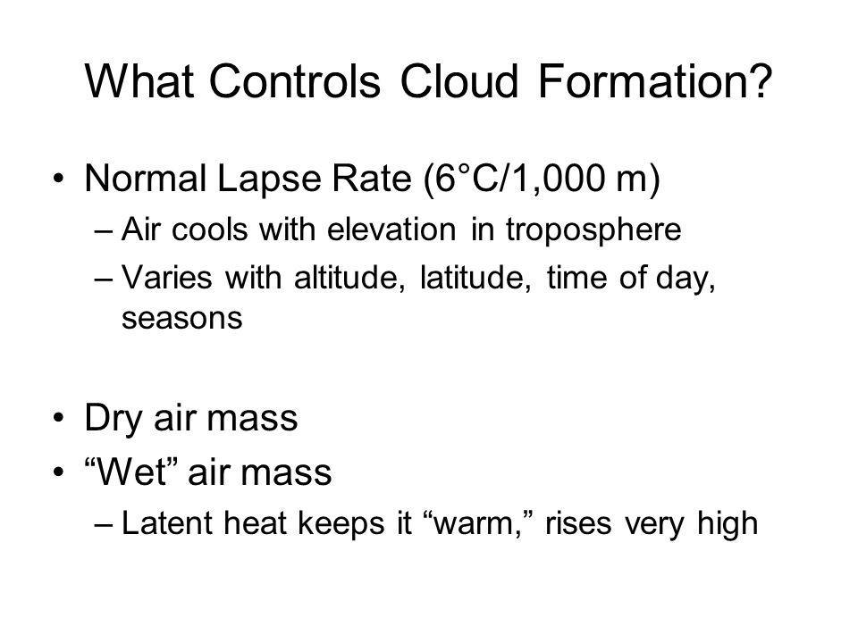 What Controls Cloud Formation? Normal Lapse Rate (6°C/1,000 m) –Air cools with elevation in troposphere –Varies with altitude, latitude, time of day,