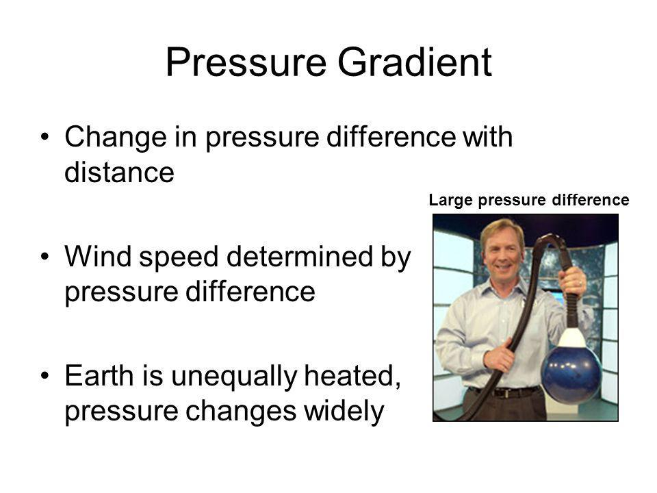 Pressure Gradient Change in pressure difference with distance Wind speed determined by pressure difference Earth is unequally heated, pressure changes