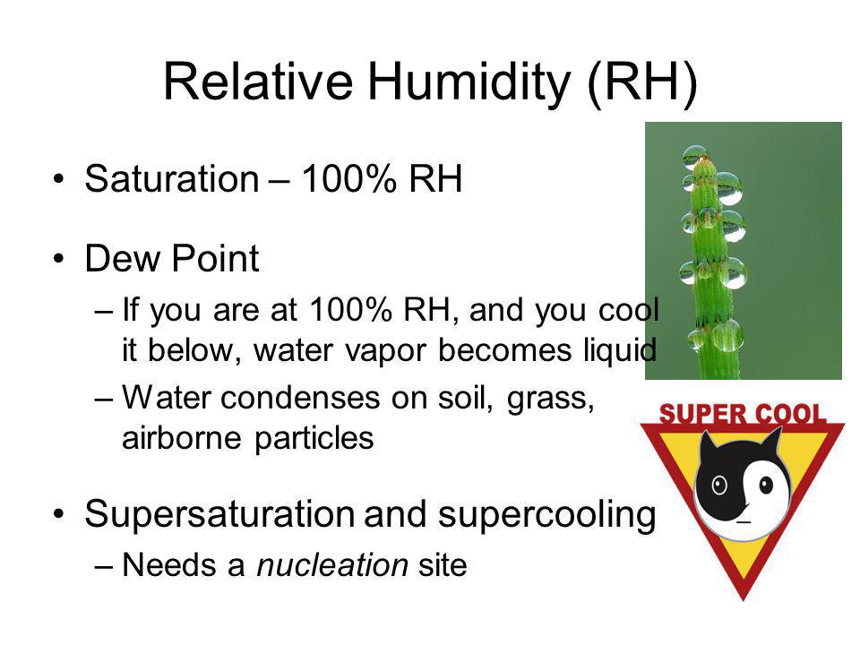 Relative Humidity (RH) Saturation – 100% RH Dew Point –If you are at 100% RH, and you cool it below, water vapor becomes liquid –Water condenses on so