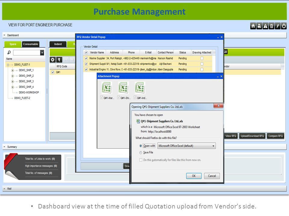 Dashboard view at the time of filled Quotation upload from Vendors side. Purchase Management