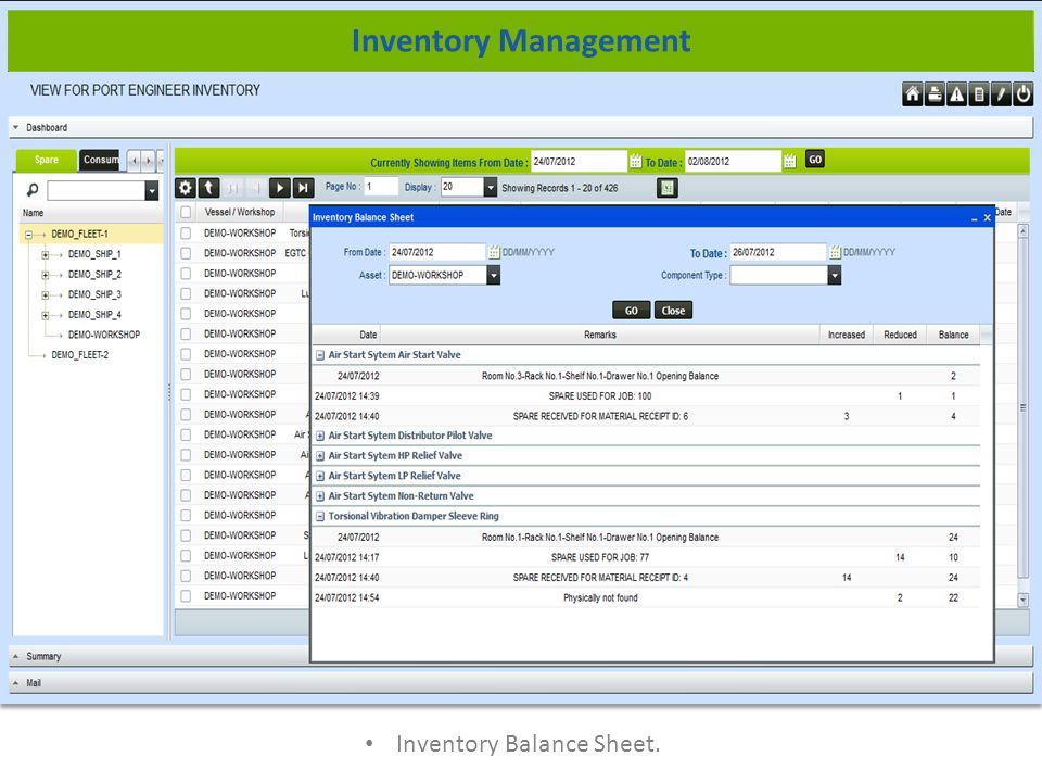 Inventory Balance Sheet. Inventory Management