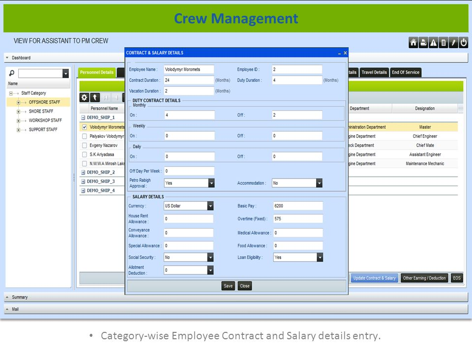 Category-wise Employee Contract and Salary details entry. Crew Management