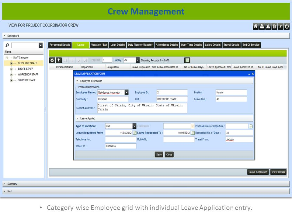 Category-wise Employee grid with individual Leave Application entry. Crew Management