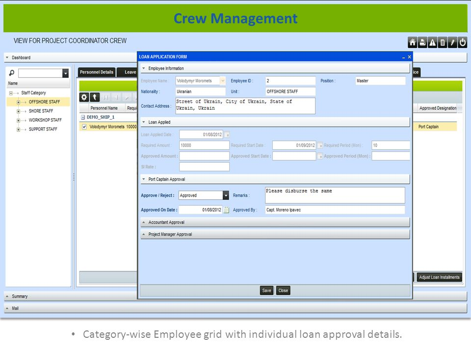 Category-wise Employee grid with individual loan approval details. Crew Management