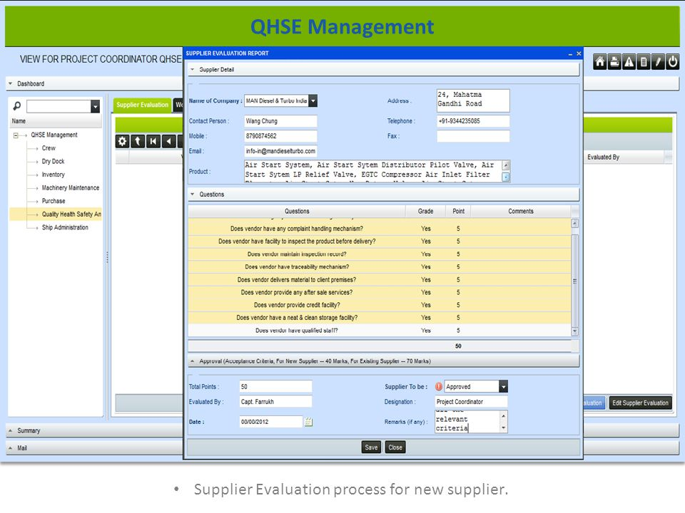 Supplier Evaluation process for new supplier. QHSE Management
