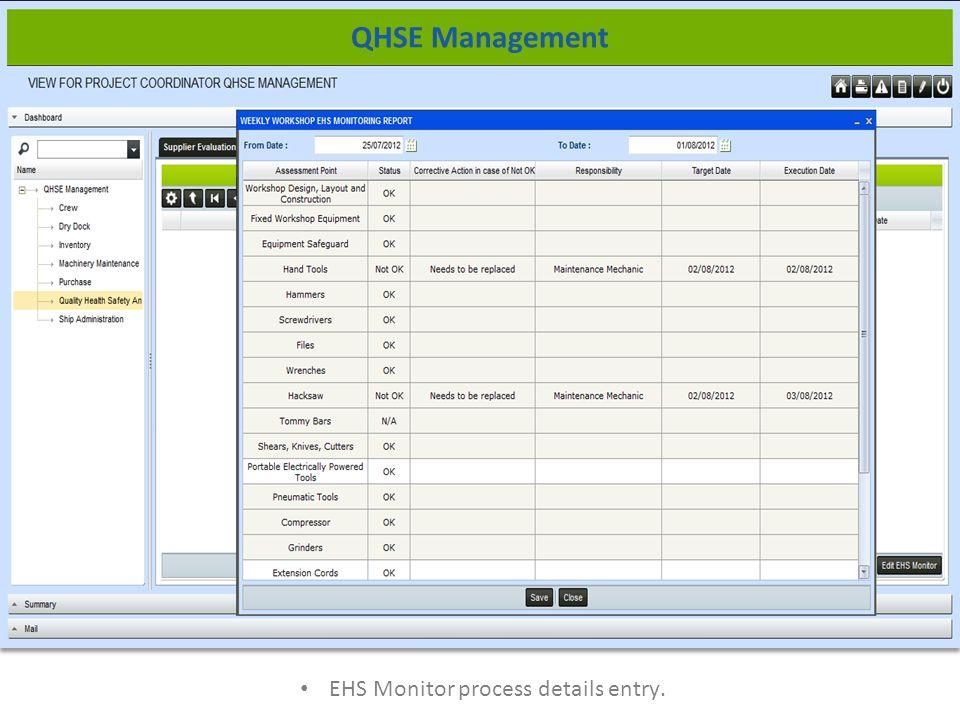 EHS Monitor process details entry. QHSE Management